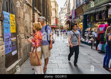 Paris, France, Street Scenes in Latin Quarter, Tourists on Historic 'Rue de la Huchette' - Stock Photo