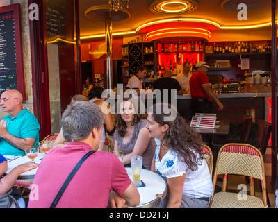 Paris, France, Women Sharing Meals on Tables Outside Parisian Cafe; 'Le Danté', in Latin Quarter - Stock Photo