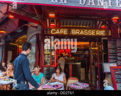 Paris, Cafe, France, Women Sharing Meals at Tables Outside Front ; 'Le Danté', with French Waiter, in Latin Quarter - Stock Photo