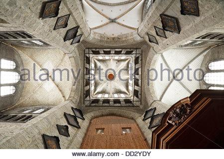 Gothic interior of St Nicholas Church (Sint Niklaaskerk) in Ghent, Belgium - Stock Photo