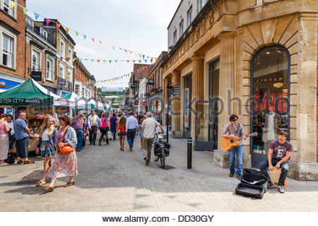 Pedestrianised high street in Winchester, Hampshire, UK - Stock Photo