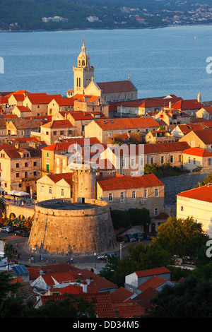 Korcula, old town at sundown - Stock Photo