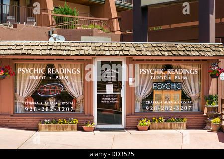 A 'Psychic Center' on Main Street, Sedona, Arizona, USA - Stock Photo