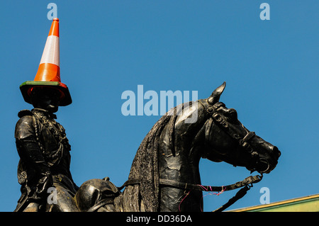 The Duke of Wellington Statue in Glasgow, with the cone on his head. The statue is outside the Gallery of Modern - Stock Photo
