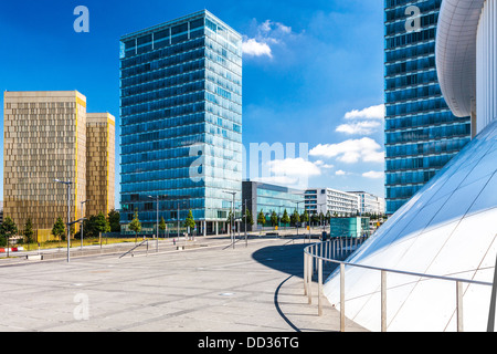 European Court of Justice, European Parliament and part of the Philharmonie concert hall on Kirchberg Plateau, Luxembourg - Stock Photo