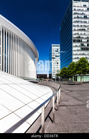 Part of the Philharmonie concert hall and the European Parliament office buildings on the Kirchberg Plateau in Luxembourg - Stock Photo