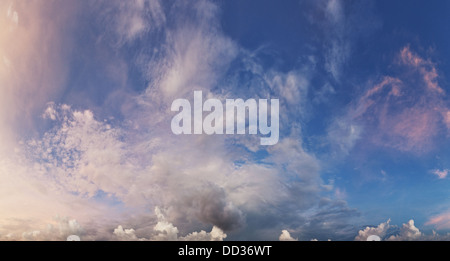 Blue day sky background. Panorama with beautiful clouds - Stock Photo