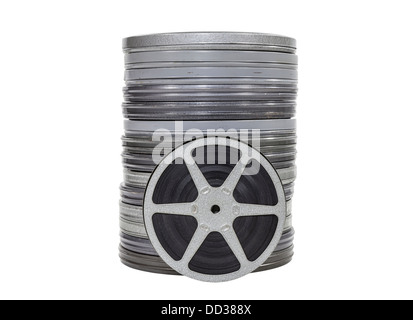 Vintage home movie film cans and reel isolated. - Stock Photo