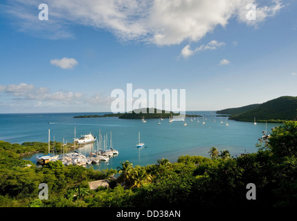 Grenada, Caribbean Clarkes Court bay with Whisper Cove Marina in the foreground, Hog Island center - Stock Photo