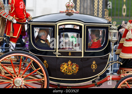 The Imperial State Crown when Queen Elizabeth II's leaves Buckingham Palace for the State Opening of Parliament on May 8, 2013 i