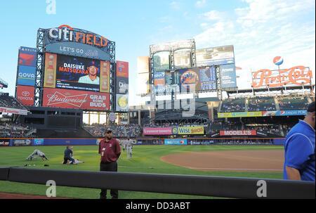 General view, AUGUST 23, 2013 - MLB : The scoreboard shows New York Mets' starting pitcher Daisuke Matsuzaka before - Stock Photo