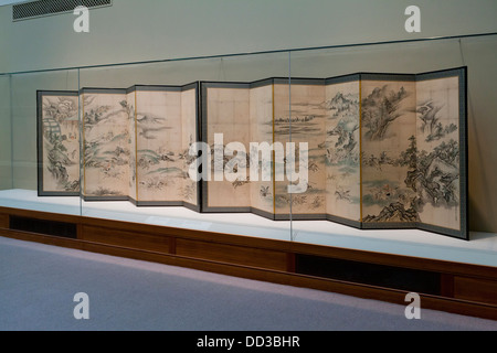 'Tatars Playing Polo and Hunting' Japanese folding screens - Edo period, 1668 - Stock Photo