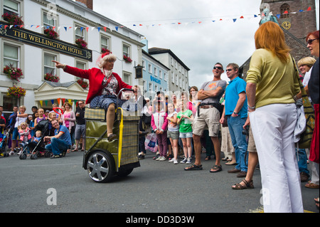 street performers Granny Turismo on the streets of Brecon during Brecon Jazz Festival 2013 - Stock Photo