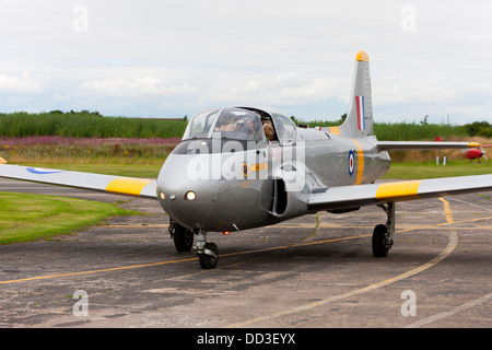 Hunting Percival Jet Provost T4 XR673 G-BLXO taxiing in after landing at Sandtoft Airfield - Stock Photo