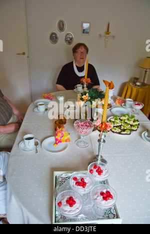 Table laid out for afternoon coffee western Finland northern Europe - Stock Photo