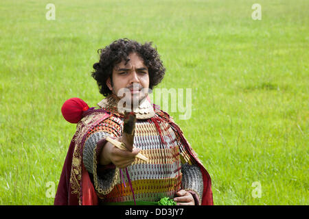 Mr Naddem Ahmed, (MR)  bearded,  23,  from Nottingham a re-enactor dressed wearing traditional historic Persian - Stock Photo