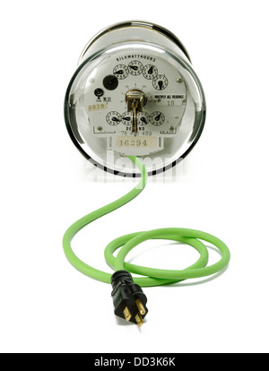 An electrical meter with a green cord and plug - Stock Photo