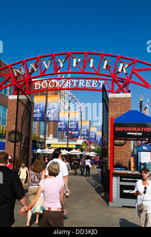 Chicago, IL, Navy pier main gate. - Stock Photo