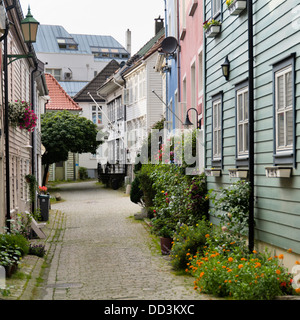 A Path Leading Between Rows Of Houses; Bergen, Norway - Stock Photo