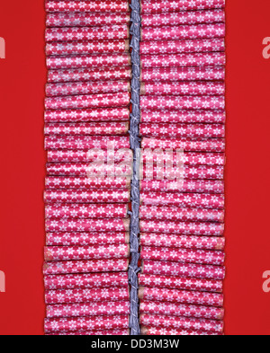 A string of red firecrackers held by a fuse. Bright red background - Stock Photo