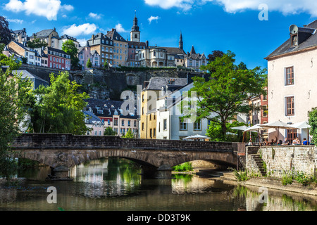 View towards the medieval Ville Haute from the River Alzette in the Grund district of Luxembourg City. - Stock Photo