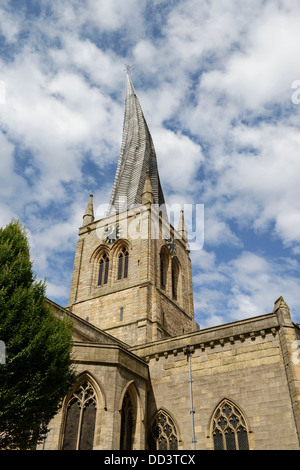 The crooked spire of the Church of St Mary and All Saints Chesterfield UK - Stock Photo