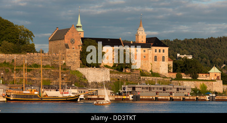 Ship And Boat In The Harbour; Oslo, Norway - Stock Photo