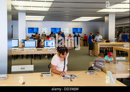 Inside the Apple shop store in Bath , Somerset , England , Britain , Uk - Stock Photo