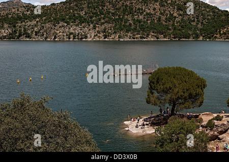 San Juan reservoir located in the municipalities of San Martin de Valdeiglesias , El Tiemblo , Cebreros y Pelayos - Stock Photo