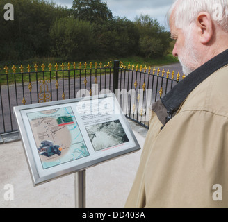 Man Reading Plaque At Roadside Memorial Of Ambush Site Where Michael Collins Was Killed On Aug. 22, 1922; Beal Na - Stock Photo