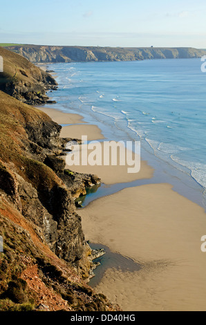 A view from the south west coast path at Chapel Porth near St.Agnes in Cornwall - Stock Photo