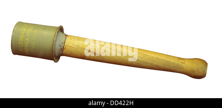 German stick grenade, Model 24 Stielhandgranate, standard hand grenade of the German Army during both World Wars - Stock Photo