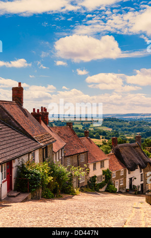 The famous Gold Hill in Shaftesbury , Dorset , England , Britain , Uk - Stock Photo