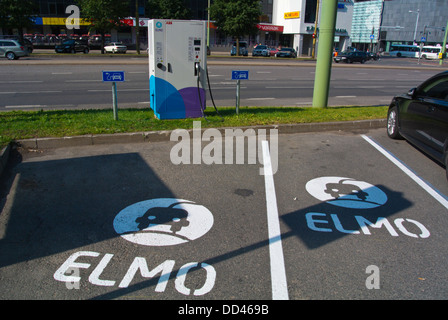 Elmo electric car charge station point Tallinn city business district Tallinn Estonia the Baltics Europe - Stock Photo
