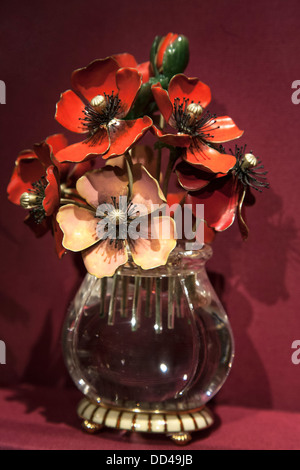 Faberge Imperial Anemones a bouquet of gold enamel and jade blossoms in rock crystal vase fabricated for Russian - Stock Photo