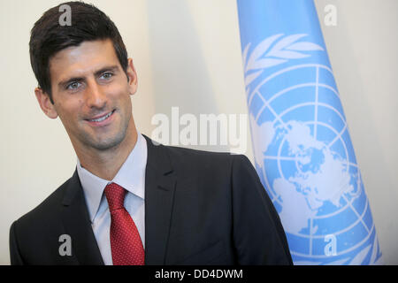 Serbian tennis player Novak Djokovic  pose for a photo at the United Nations headquarters in New York, August 23, - Stock Photo