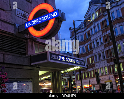 Leicester Square London Underground Station, South East England at dusk - Stock Photo
