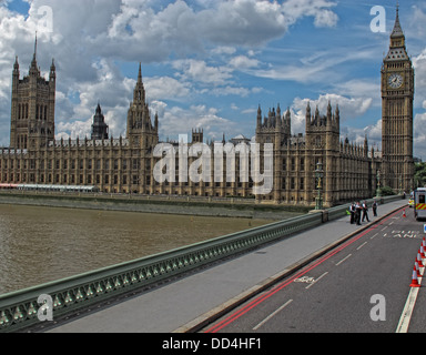 Palace of Westminster, from Westminster Bridge, coming north, London, South East England, SW1A 0AA - Stock Photo