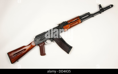 The Russian AK74 assault rifle. The AK74 is an upgrade of the original AK47 7.62mm assault rifle to 5.45×39mm ammo - Stock Photo
