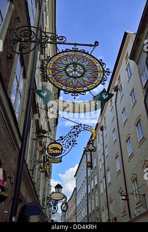 Shop signs in Salzburg, Austria, Europe - Stock Photo