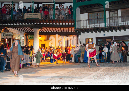 The parade in the Main Square. Holy Week, Passion of Chinchon, Chinchon, Madrid province, Spain. - Stock Photo