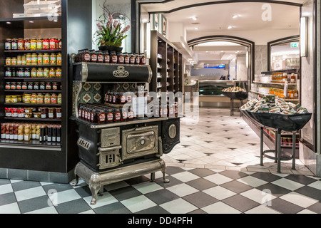 Old stove and checked black and white flooring in food department of the Kaufhaus des Westens, Kadewe, Tauentzienstrasse, - Stock Photo