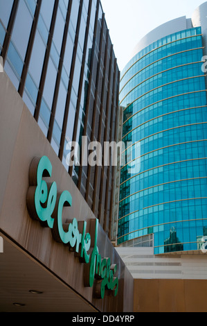 Facade of Titania tower and El Corte Ingles. AZCA, Madrid, Spain. - Stock Photo