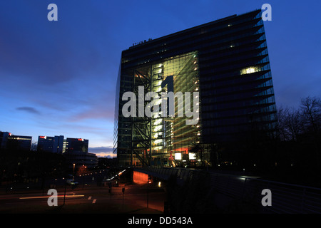 The Stadttor building (city gate ) in the Neuer Zollhof are at night, Düsseldorf City, North-Rhine-Westphalia, Germany, - Stock Photo