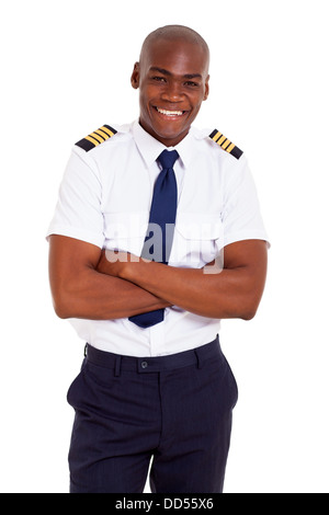 handsome African pilot in uniform isolated on white - Stock Photo