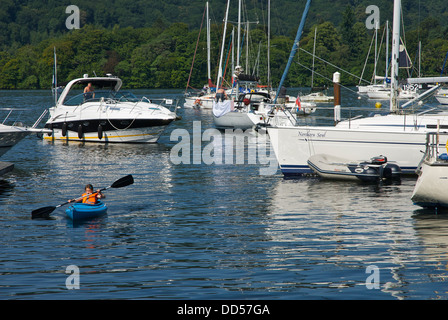 Messing about in boats at Ferry Nab, Lake Windermere, Lake District National Park, Cumbria, England UK - Stock Photo