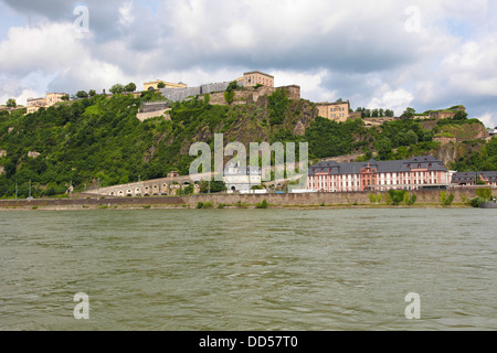 Famous fortress Ehrenbreitstein in Koblenz, Germany. - Stock Photo