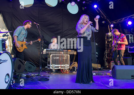 Portsmouth, UK. 25th Aug, 2013. Victorious Festival at Portsmouth Historic Dockyard.  Charlotte Church with her - Stock Photo