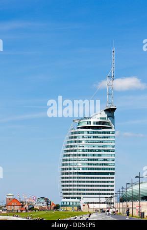 Contemporary architecture at Bremerhaven - Atlantic Sail City Hotel - Stock Photo