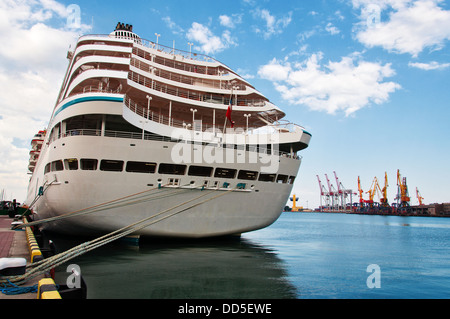 Cruise Liner moored in the seaport. Back view, closeup. - Stock Photo